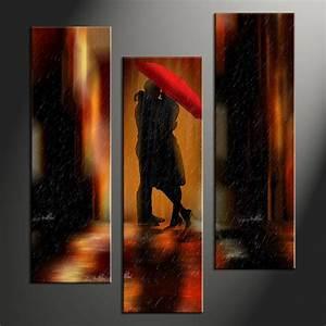 Piece modern red umbrella wall decor