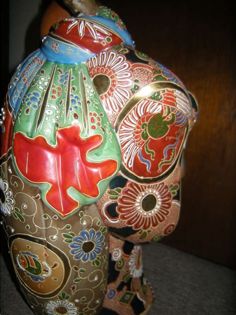 Large Japanese Porcelain Kutani Moriage Hotei Statue