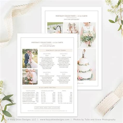 wedding photography price list template organic