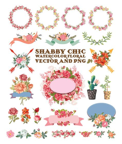 shabby chic clip watercolor flower clipart shabby chic clipart flower