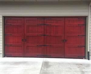 Bi fold carriage doors 16 ft x 8 ft insulated wood for 16 ft wood garage door