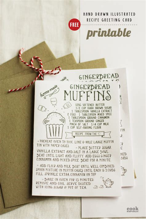 printable hand drawn illustrated christmas recipe