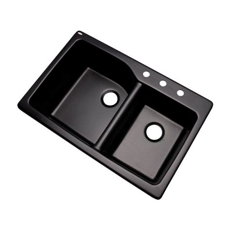 Black Drop In Kitchen Sink by Mont Blanc Grande Drop In Composite Granite 34 In 3