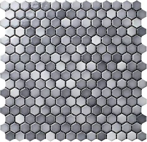 "Shades of Gray 3/4"" Hexagon Porcelain Mosaic Tile"