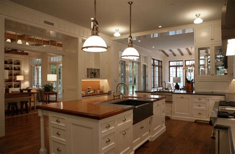 Island With Butcher Block Top  Transitional Kitchen