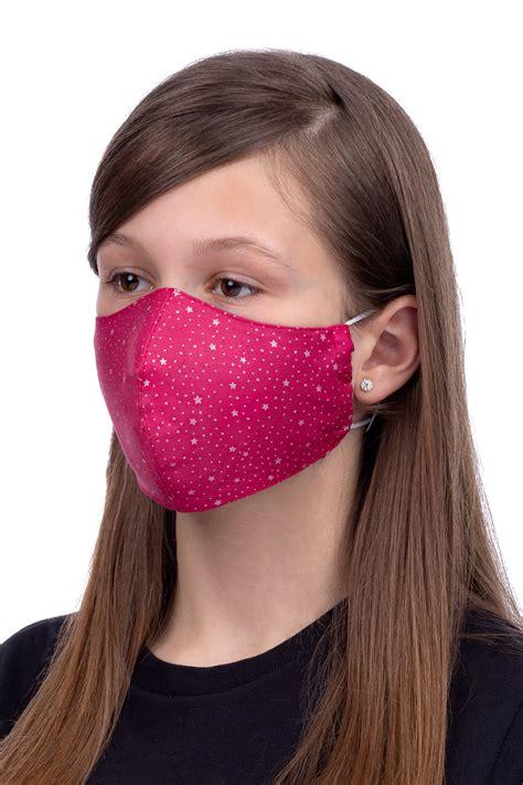 Maska na twarz dla dzieci 8-12 lat - gwiazdki na czerwonym tle - Lebelt - Szyjemy z pasją