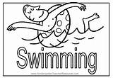 Coloring Swimming Pages Summer Pool Swim Word Puzzles Crossword sketch template