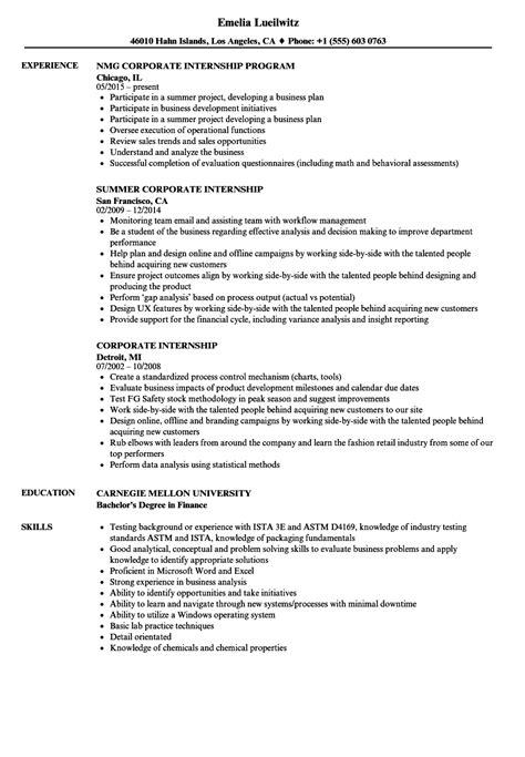 Internship Resume by Corporate Sales Intern Resume Intern Resumes