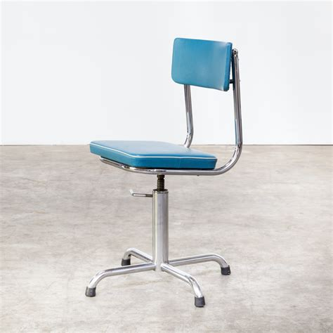 small desk chair 60s small office chair blauw skai with white trim barbmama
