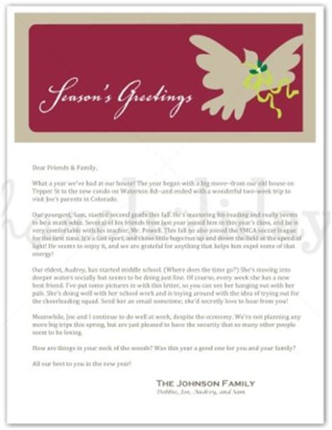 printable peace christmas family letter template