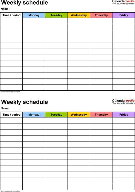 weekly schedule template  excel version   schedules