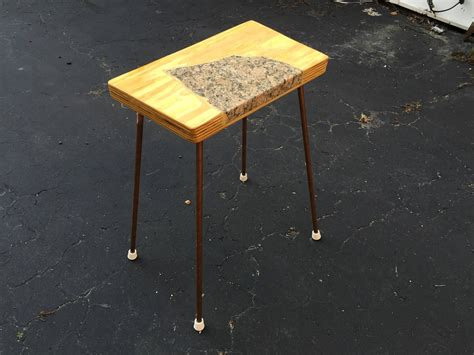 up cycled birch and granite inlaid side table granite line