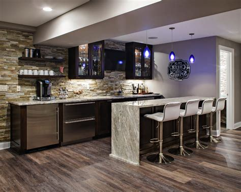Basement Bar Island by Basement Kitchen Home Bar Transitional With Cabinets