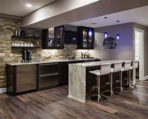 Basement Kitchen Home Bar Transitional With Cabinets