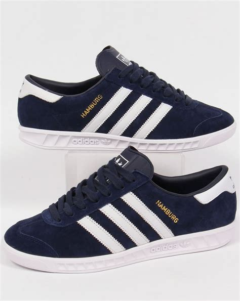 adidas hamburg trainers navy white originals mens shoes
