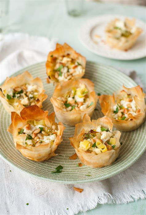 filo pastry cases canapes cook your leek and feta filo tartlets