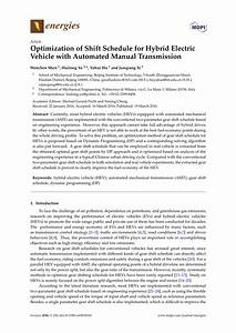 Pdf  Optimization Of Shift Schedule For Hybrid Electric