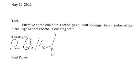 letter of resignation from a football coach just b cause letter of resignation from a football coach just b cause 70951