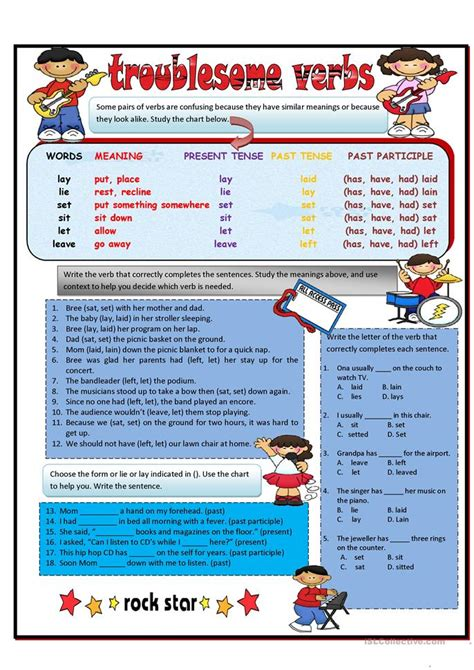 troublesome verbs part  lay lie set  leave