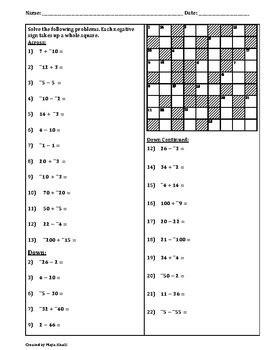 adding subtracting integers cross number puzzle  maya