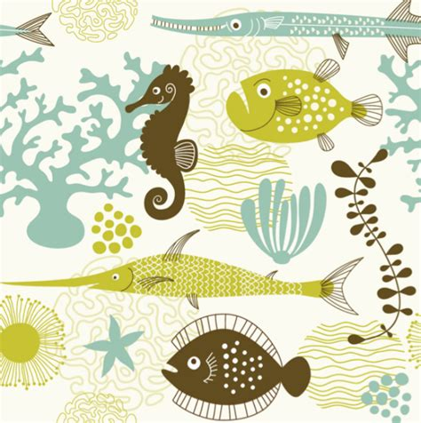 Sea Life, Sealife, Pattern, Fish, Illustration, Ocean