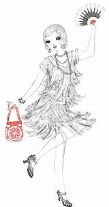 Colouring 1920s Flapper Usborne Coloring Sheet Jazz Evening Sheets 20s Complete Ready Club Mode Roaring Adult Dresses sketch template