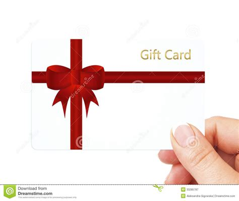 hand holding gift card isolated  white royalty