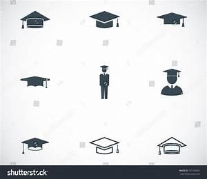Vector Black Academic Cap Icons Set On White Background ...