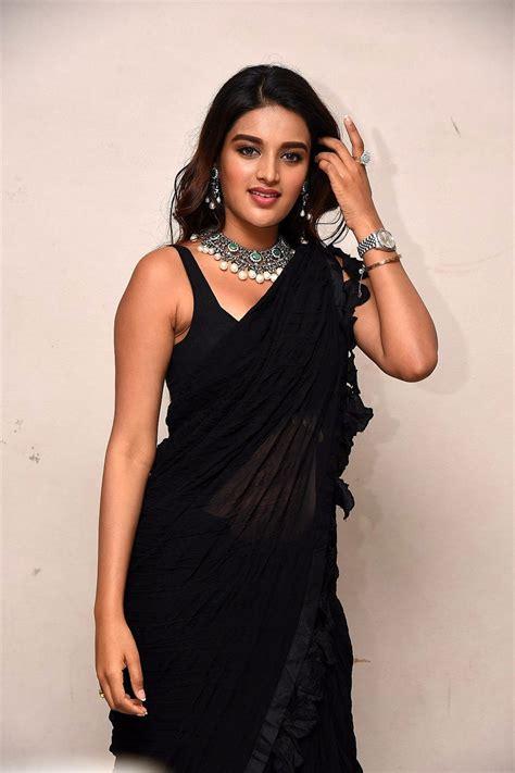 Actress Nidhi Agarwal Black Saree Images Ismart Shankar
