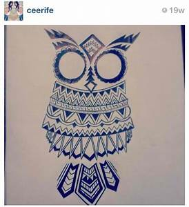 Aztec owl drawing. by Cee Rife | We Heart It