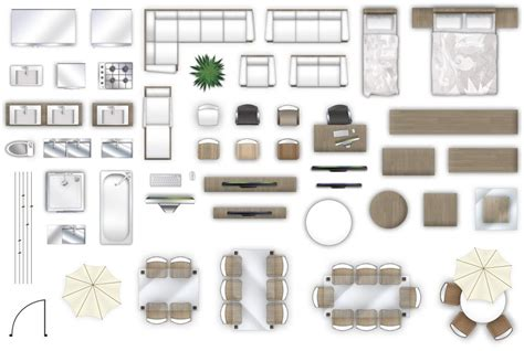 furniture floorplan top  view psd model