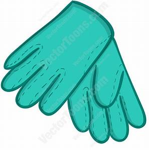 Cartoon Clipart: Blue Gardening Gloves