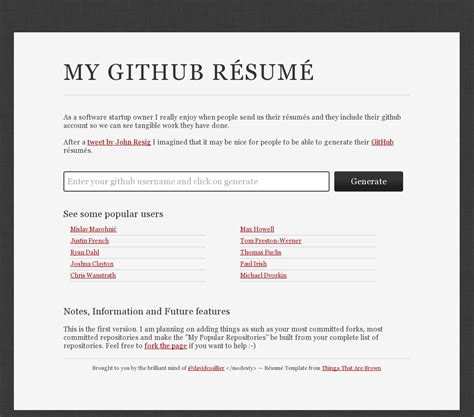 Generate Resume by Generate A Resume Based On Your Github Profile Html5