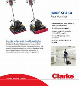Clarke Fm40 St Lx Orbital Floor Machine Brochure And