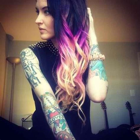 Black Purple And Blonde Hair Ombré Hair Colors Girls