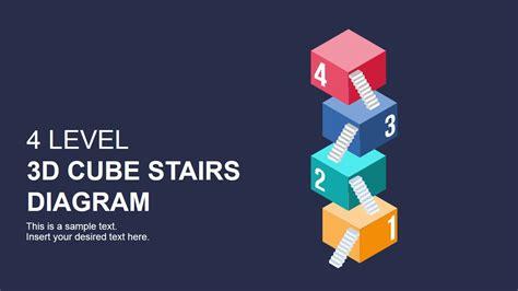 flat  cube stairs diagram  powerpoint slidemodel