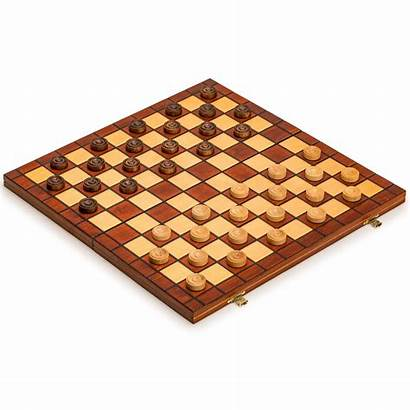 Checkers Wooden Case Playing Field Draughts Folding