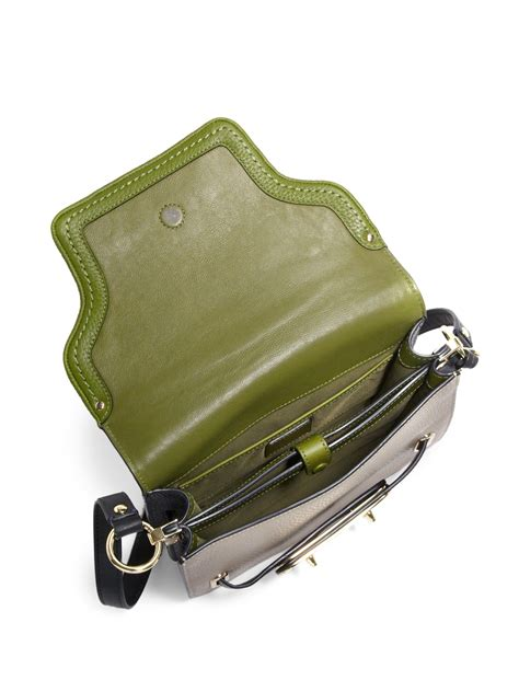lyst coach swagger small colorblock leather crossbody bag  green