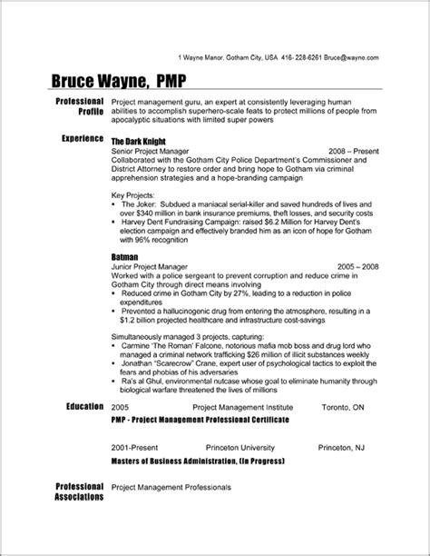 project manager resume sle batman