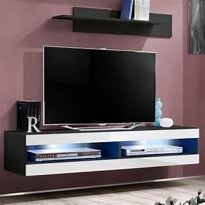 Meuble Tv Mural Blanc : meuble tv mural design fly ii 160cm blanc noir ~ Dailycaller-alerts.com Idées de Décoration