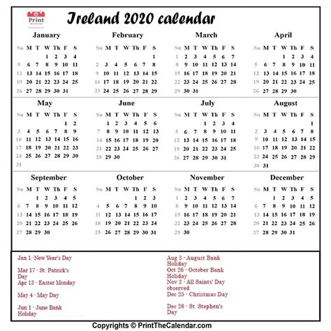 calendar  ireland ireland printable calendar