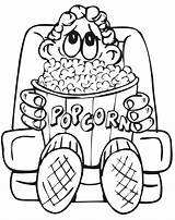 Coloring Popcorn Pages Eating Drawing Cinema Avengers Boy Printable Movies Theater Tickets Sheet Theatre Colouring Sheets Kid Clipart Popular Snack sketch template