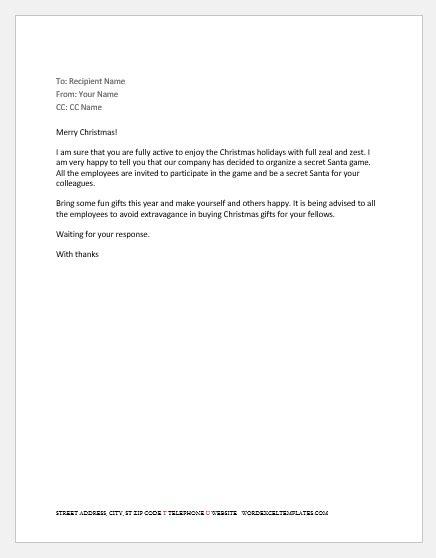 Secret Santa Emails to Staff | Word & Excel Templates