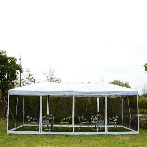 outsunny    outdoor pop  party tent canopy gazebo mesh side walls beige ebay