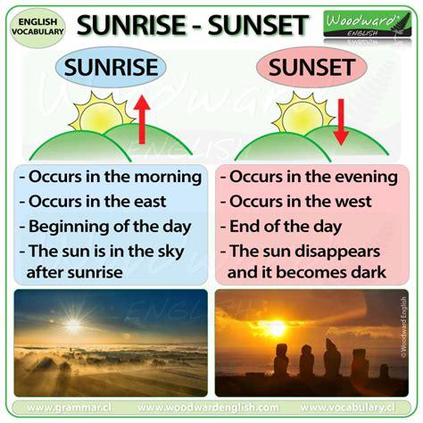 sunrise  sunset woodward english