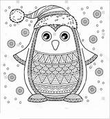 Penguin Coloring Pages Christmas Printable Adults sketch template