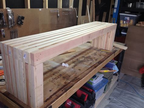 ana white modern slat top outdoor bench diy projects
