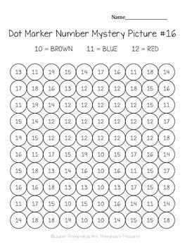 kindergarten numbers   dot marker mystery picture