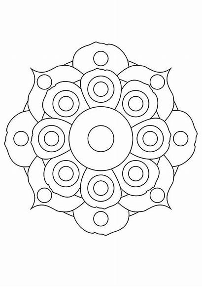 Coloring Mandala Flower Pages Lily Flowers Worksheets