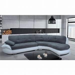 Canapé Angle Arrondi : canap d 39 angle regal gris et blanc angle droit achat vente canap sofa divan cdiscount ~ Teatrodelosmanantiales.com Idées de Décoration
